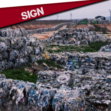 SIGN : ECOEMBES LIES : RECYCLING IS NOT ENOUGH
